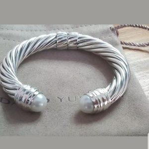 David yurman 10 mm cable cuff bracelet with pearl